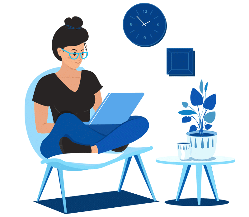 Extilum RemoteApp service illustration - girl, working remotely in her home using remote app service