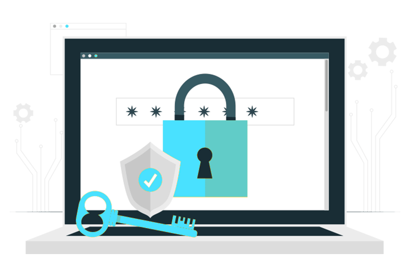 Illustration of a secure laptop with private cloud